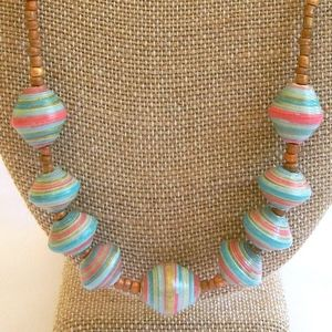 Coral, Turquoise and Gold Paper Bead Necklace